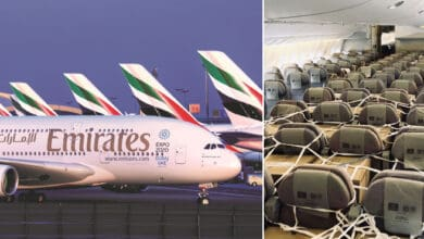 A giant white Emirates jumbo jet in front of a row of parked aircraft with tails visible; right side of split screen is cargo stored in passenger seats.
