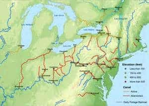 Map shows major U.S. canals in the 1830s.  (Map courtesy of socialstudiesforkids.org)