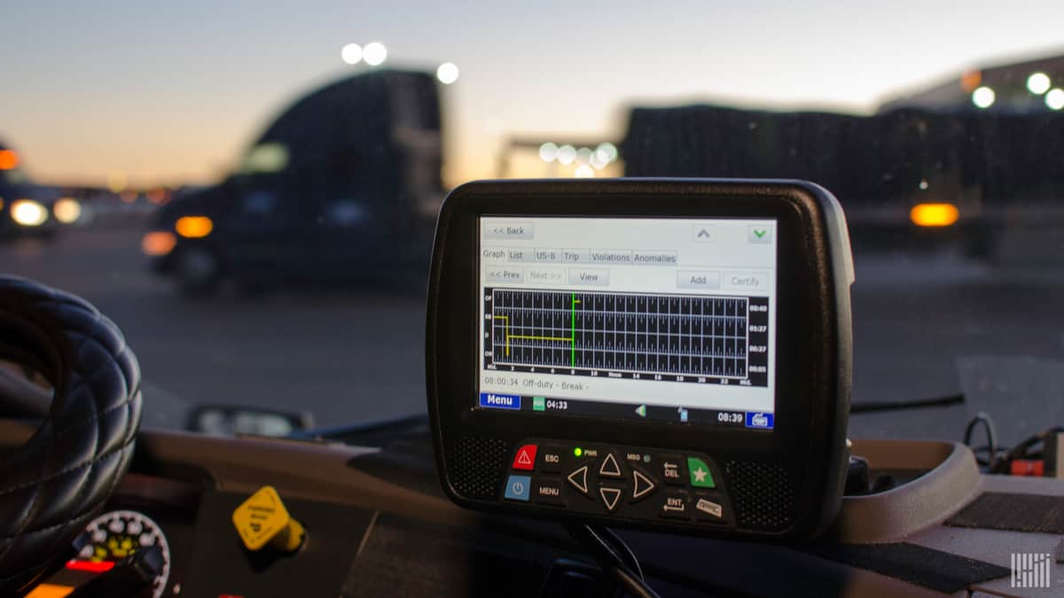 An electronic-logging device (ELD) on the dash of a commercial truck. Canada will require the use of ELDs in commercial trucks as of June 12 when its ELD mandate comes into force.