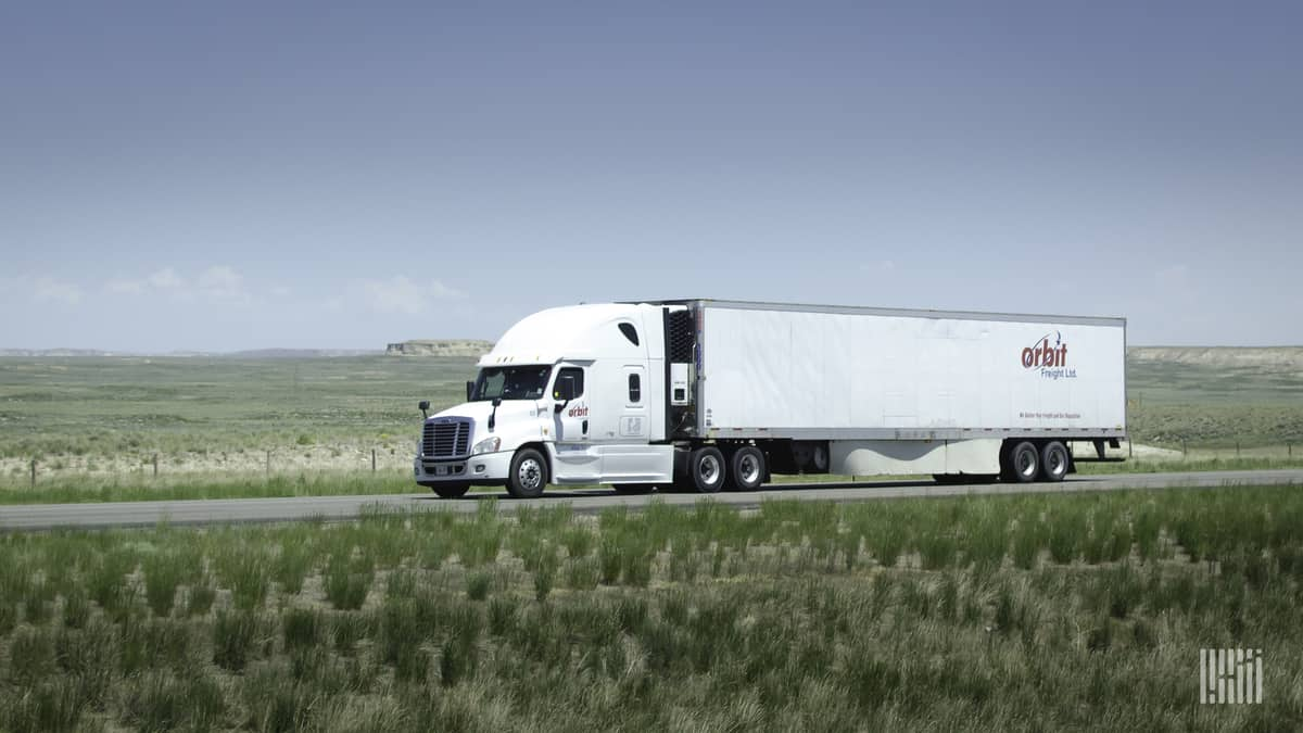 A tractor-trailer from Canadian trucking company Orbit Freight, which recently closed.