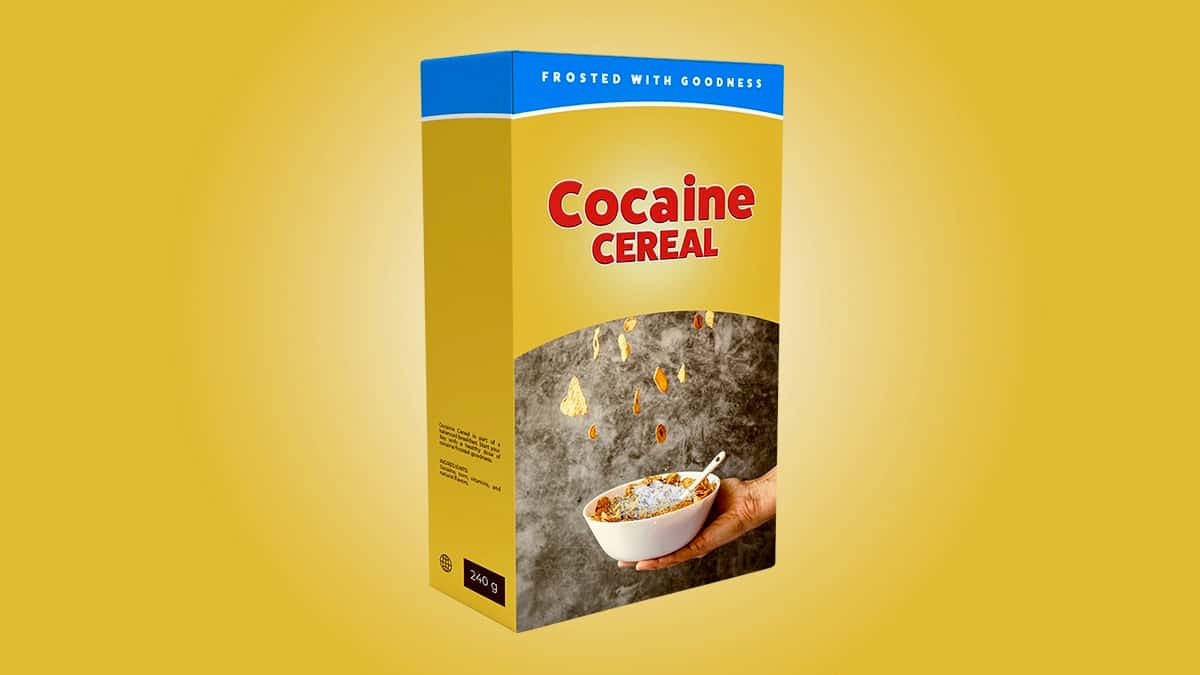 A graphic illustration of a box of of cocaine cereal to illustrate an article about the interception of a shipment of cocaine cornflakes.