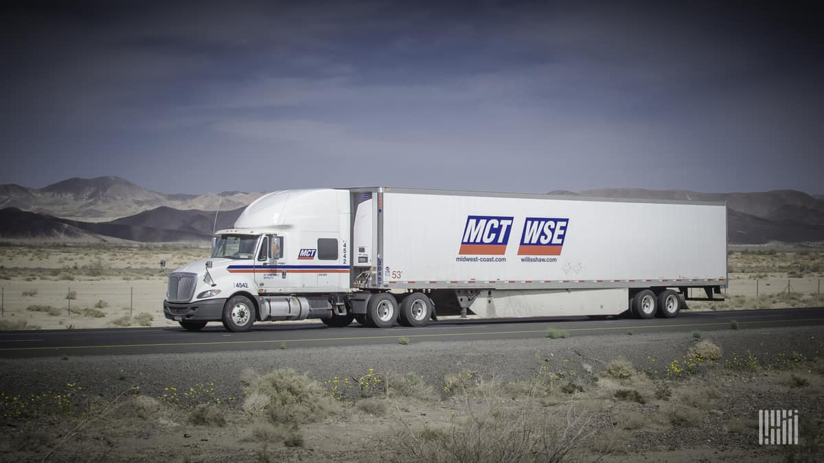 A tractor-trailer a former Comcar Industries carrier MCT. It was sold in the Comcar bankcruptcy.