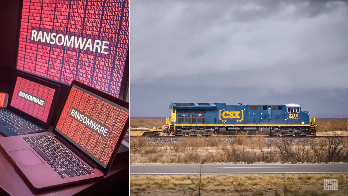A photo of a CSX train alongside computer screens displaying ransomware in text