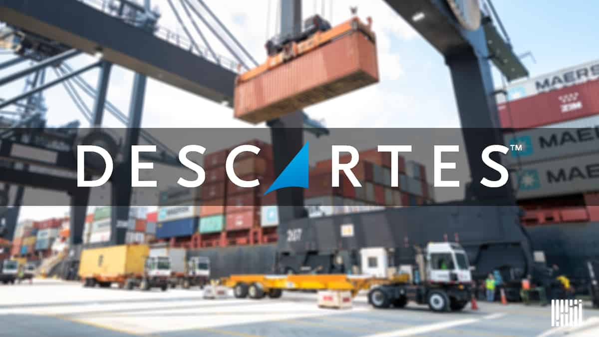 The logo of Descartes Systems Group on an image from a shipping container being loaded at a port.