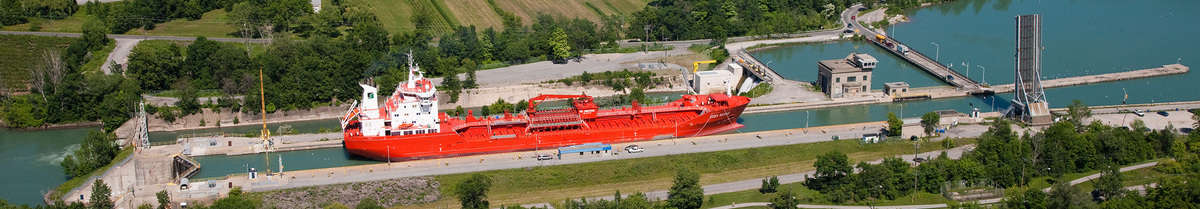 An aerial view of one of the locks along the Seaway. (Photo: Great Lakes St. Lawrence Seaway System)