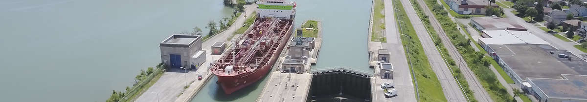 A ship docked along the St. Lawrence Seaway. (Photo: Great Lakes St. Lawrence Seaway System)
