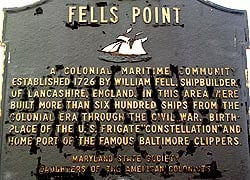 An historical marker for Fells Point. (Photo: Maryland State Archives)