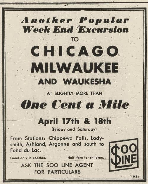 A 1931 advertisement for the Soo Line. (Image: www.wiclarkcountyhistory.org)