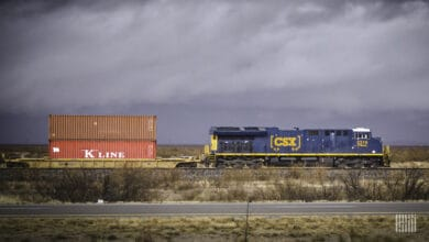A photograph of a CSX train hauling intermodal containers.