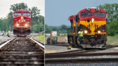 A composite image consisting of two photographs of train locomotives.