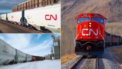 A composite image consisting of three photos. On the left are two photographs. Each are of a train of hopper rail cars. On the right is a photo of a CN locomotive.