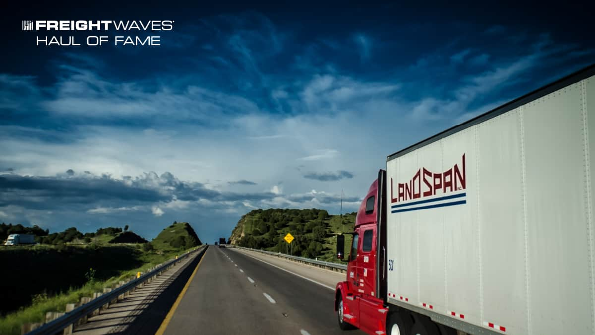 A Land Span tractor-trailer on the highway. (Photo: Jim Allen/FreightWaves)