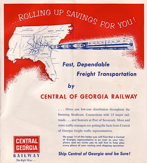 A Central of Georgia Railway advertisement to haul freight.  (Image: Central of Georgia Railway Historical Society)