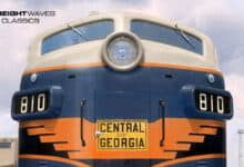 An Electro-Motive photo featuring a new Central of Georgia locomotive in June 1948. (Photo: Warren Calloway Collection/Tom Alderman colorization)