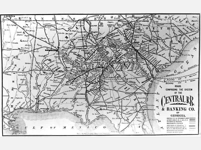 A map of the Central Rail Road & Banking Co. of Georgia system. (Illustration: Georgia Historical Society)