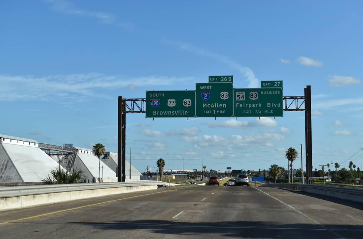 Highway signs show an upcoming exit for Interstate 2. (Photo: Interstate-guide.com)
