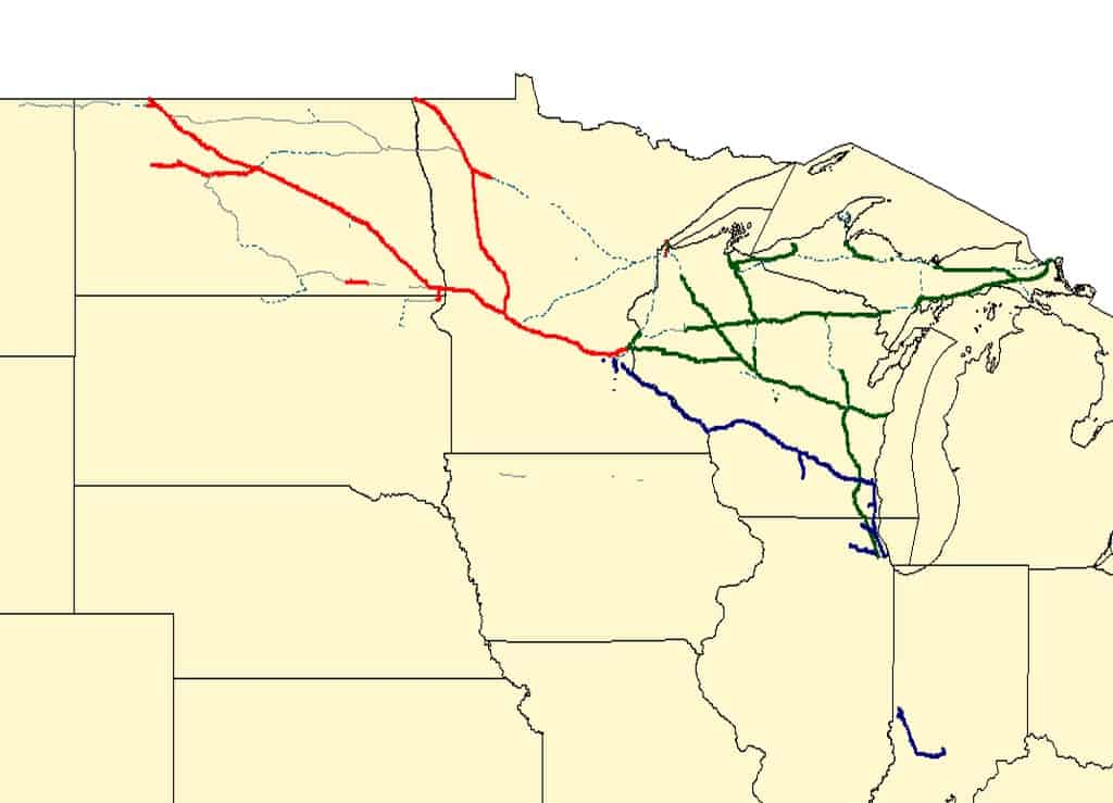 A map of the Soo Lines rail lines. (Image: Wikipedia)
