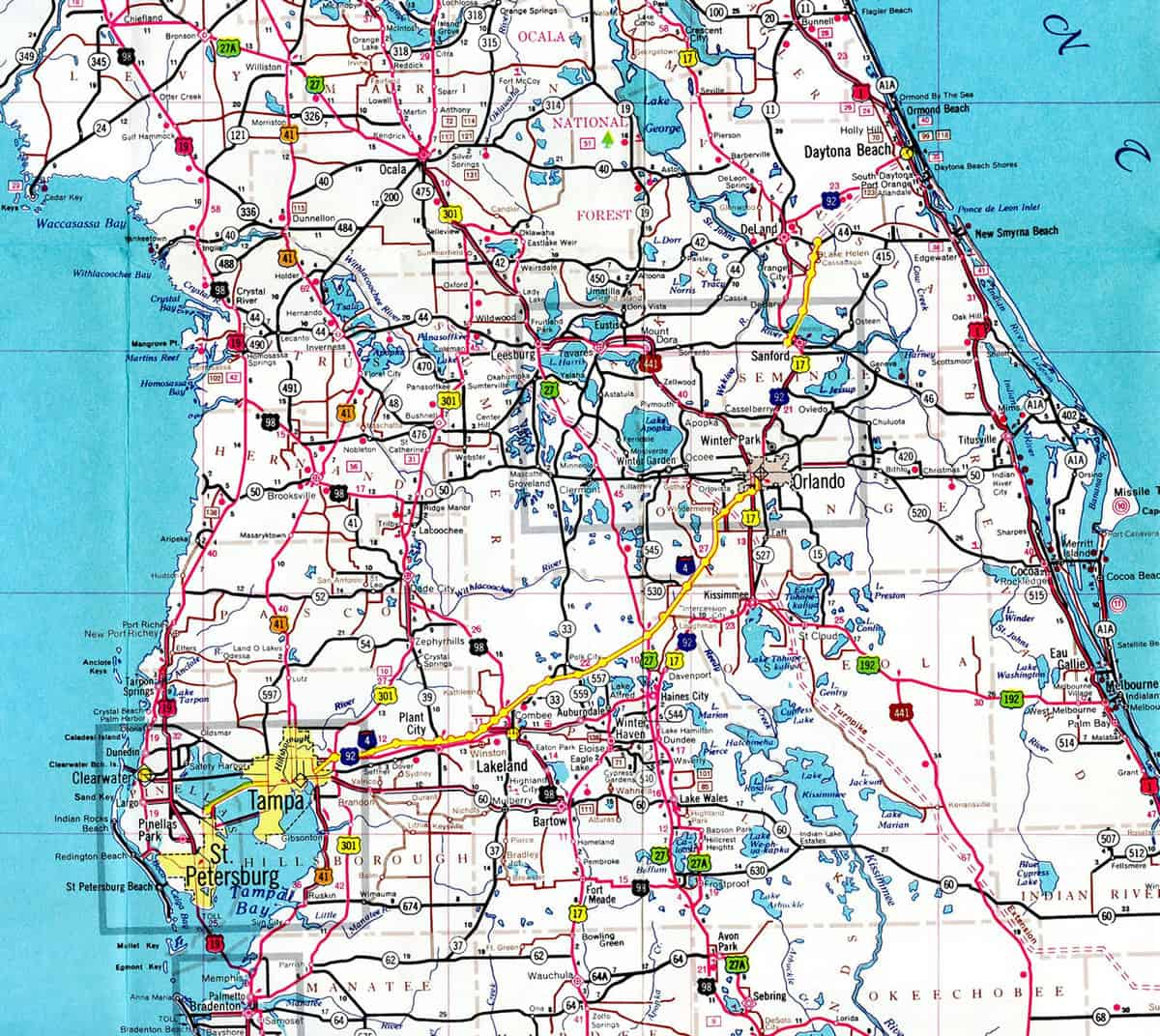 This map shows the route of I-4 from Tampa (western Florida) to Daytona Beach (Florida's East Coast).  (Map: Interstate-Guide.com)