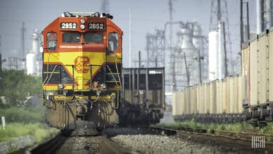 A photograph of a Kansas City Southern train.