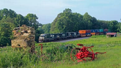 A photograph of a Norfolk Southern train rolling through a field.