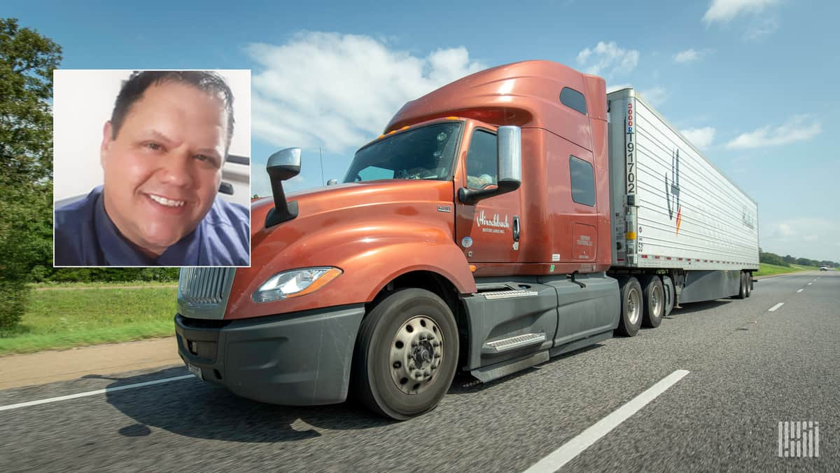Photo of trucker Nick Still inset with photo of a Hirschbach Motor Lines truck.