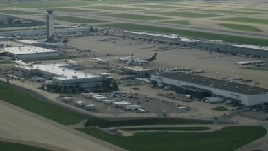 Aerial view of O'Hare Airport cargo terminal.