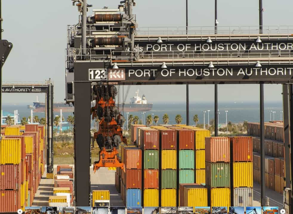 One of Port Houston's cranes is shown in this photo, along with hundreds of containers. (Photo: Port Houston)