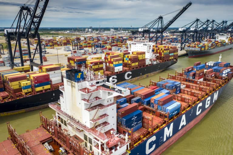 Multiple container ships at Port Houston can be seen in this photo. (Photo: Port Houston)