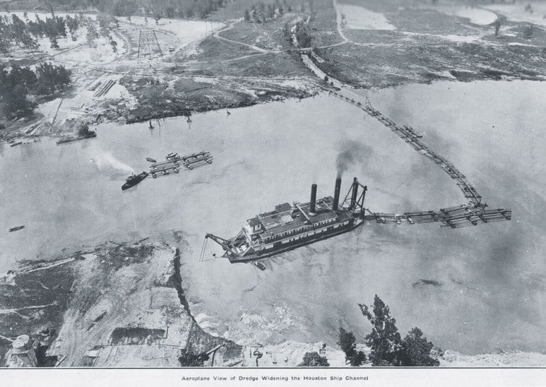 An aerial view of a dredge widening the Houston Ship Canal. (Photo: Port Houston)