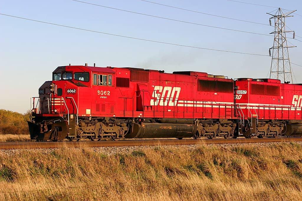 Two Soo Line locomotives at the head of a train. (Photo: Flickr/Nate Beal)