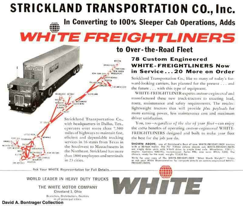 An advertisement for White Motor Company that features Strickland trucks. (Image: David A. Bontrager Collection)