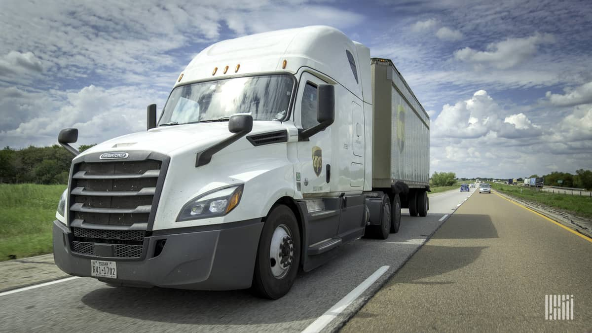 A UPS Freight tractor-trailer. TFI is acquiring UPS Freight from UPS.