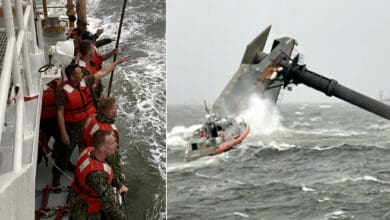 Coast Guard crew rescuing people from capsized commercial lift boat Seacor Power.