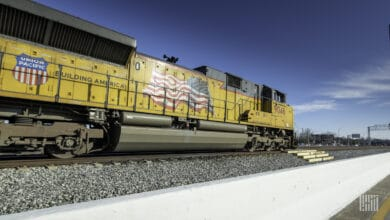 A photograph of a Union Pacific train.