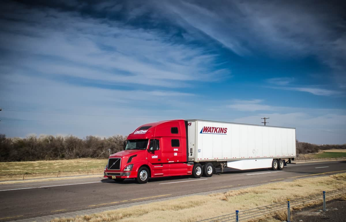 A Watkins Motor Lines truck moves down the road. (Photo: Jim Allen/FreightWaves)