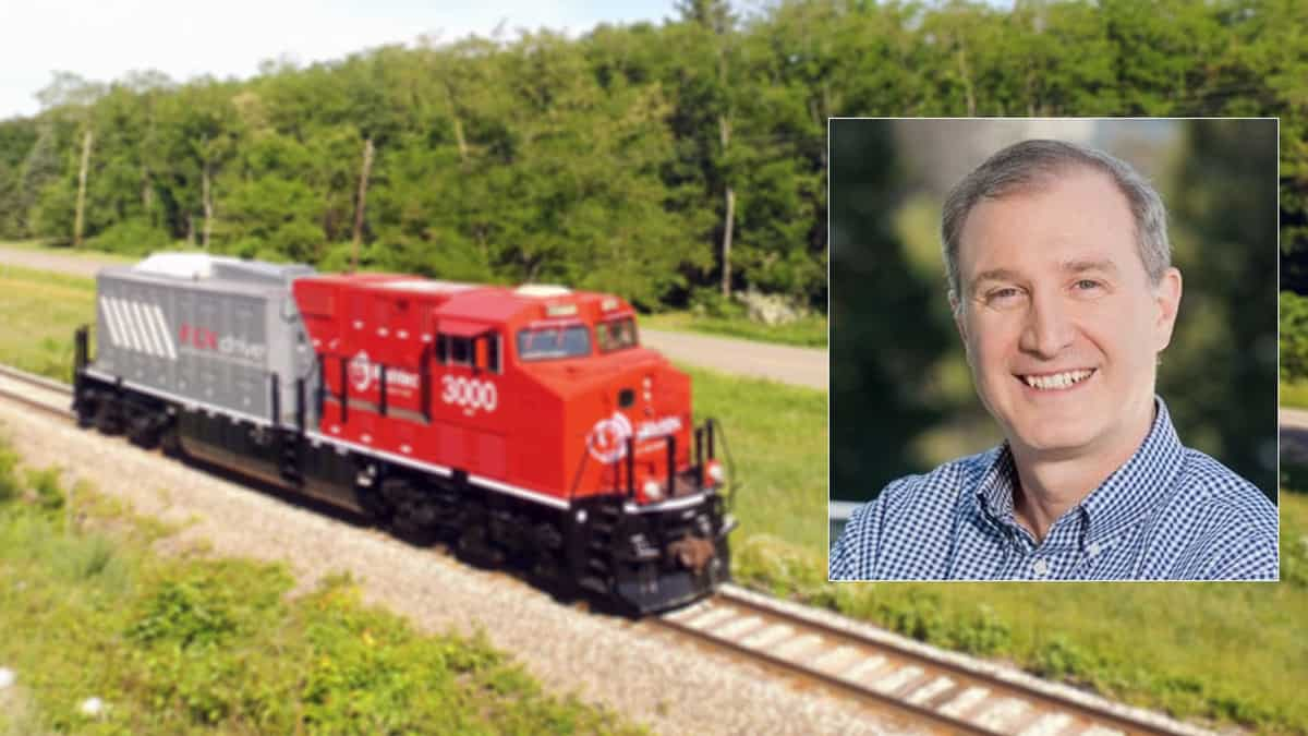 Two photographs. One is of a locomotive in a field and the other is of a man.