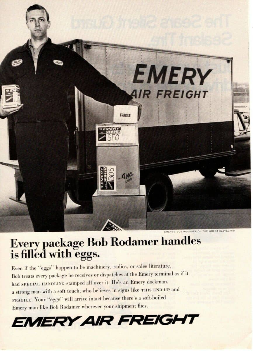 A vintage Emery Air Freight advertisement.
