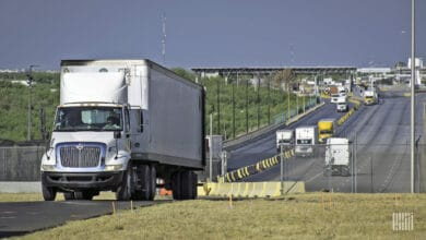 Mexican trucks near the U.S- Mexico border.