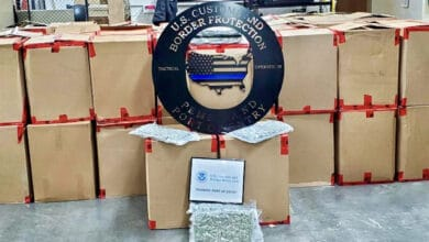 Marijuana seized from a truck at the U.S.-Canada border in Pembina, ND.