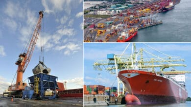 A montage of three images of vessels at the Port of Montreal.