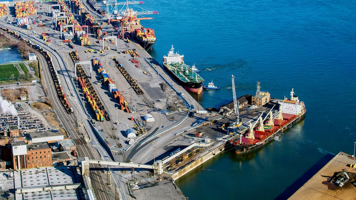 An aerial view of the Port of Montreal where a full strike will begin on Monday