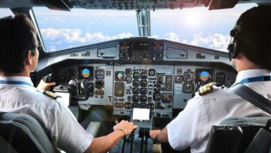 Pilots flying a plane, cockpit view from behind looking out.