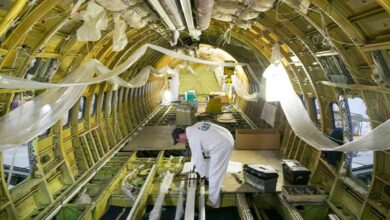 Inside the frame of a stripped down Boeing 737-800 being converted into a freighter.