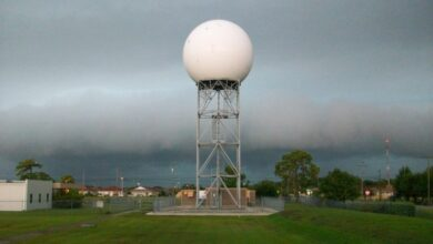 Doppler radar dome at the NWS office in Tampa, Florida.