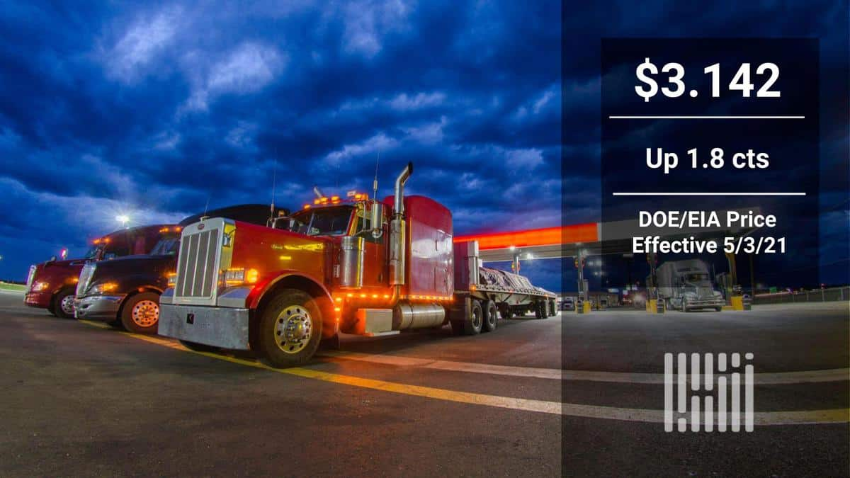 DOE/EIA diesel price up for the week, first time since March