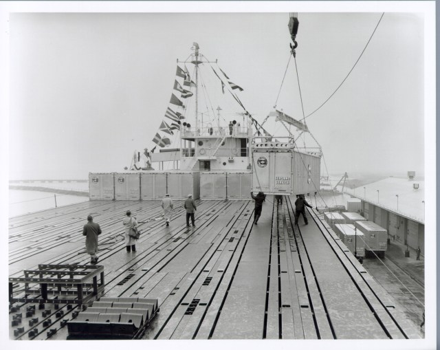 A container is loaded on the SS Ideal X. (Photo: Port of New York/New Jersey)