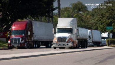 Trucks approach the U.S. entrance to the Otay Mesa LPOE. (Photo: FreightWaves)