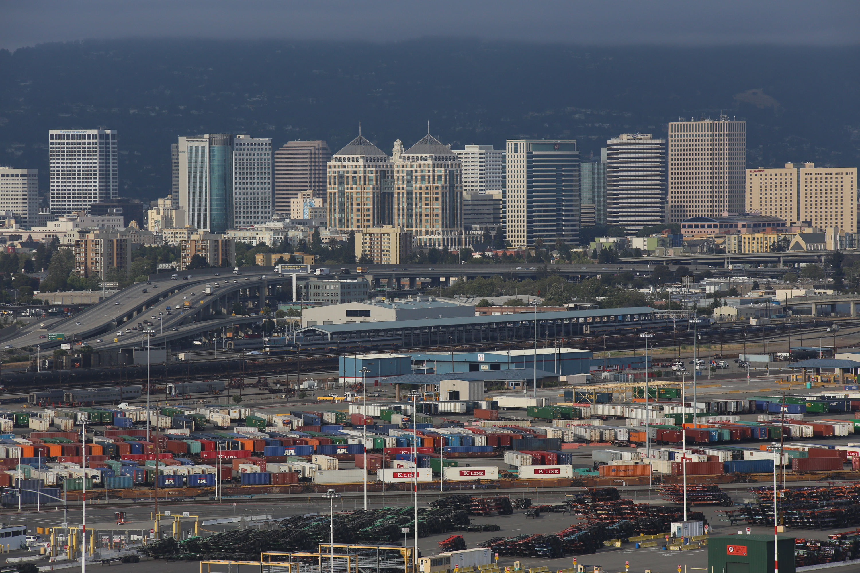 Part of the Port of Oakland's intermodal container transfer facility is visible in this photograph. (Photo: Port of Oakland)