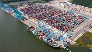 An aerial view of part of the Port of Virginia. (Photo: FreightWaves)