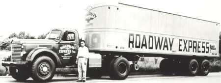 A Roadway Express tractor-trailer and driver. (Photo: Akron Library)